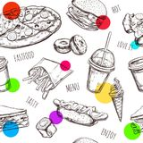 Fastfood seamless pattern. Hand drawn Isolated vector objects. Hamburger, pizza, hot dog, cheeseburger, coffee , ice. Fastfood seamless pattern . Hand drawn stock illustration