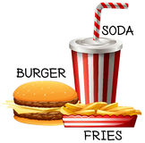 Fastfood set with burger and fries Royalty Free Stock Images