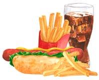 Fastfood set, hot dog, musztarda, ketchup, francuscy fies, kola obraz stock