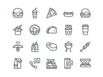 Fastfood. Set of outline vector icons. Includes such as Cheeseburger, Donut, Pizza and other. Editable Stroke. 48x48. Pixel Perfect Royalty Free Stock Image