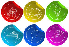 Fastfood stickers Royalty Free Stock Photos