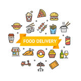 Fastfood or Street Food Round Design Template Line Icon Delivery Concept. Vector. Fastfood and Street Food Round Design Template Thin Line Icon Delivery Concept vector illustration