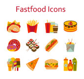 Fastfood and streetfood icons set. Vector illustration Royalty Free Stock Images