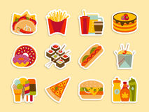 Fastfood and streetfood stickers set. Vector illustration Royalty Free Stock Photography