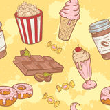 Fastfood sweets delicious hand drawn vector seamle Royalty Free Stock Photo