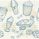 Fastfood sweets delicious hand drawn vector seamle Royalty Free Stock Image