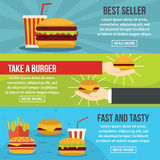 Fastfood tasty banner horizontal set, flat style Stock Photography