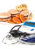 Fastfood und medizinische Hilfsmittel Stockfoto