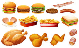 Fastfood in various types Royalty Free Stock Photo