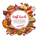 Fastfood vector de schetsaffiche van het restaurantmenu vector illustratie
