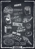 Fastfood vector menu. Fast Foods menu on chalkboard vector . Burger, pizza, ice cream and other fastfood product Royalty Free Stock Image