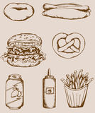Fastfood vintage icons Royalty Free Stock Images