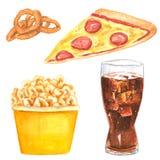 Fastfoodclipartuppsättning, lökcirklar, pizzaskiva, popcornhink och cola royaltyfri illustrationer