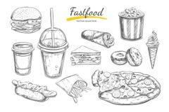 Fastfooddisk med drinkar Drog isolerade vektorobjekt för vektor hand Hamburgare, pizza, varmkorv, ostburgare, kaffe och sodavatte stock illustrationer