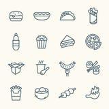 Fastfoodlinje symbolsuppsättning vektor illustrationer