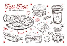 Fastfoodteller mit Getränken Gezeichnete lokalisierte Vektorgegenstände des Vektors Hand Hamburger, Pizza, Würstchen vektor abbildung