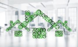 Fastighet- eller konstruktionsidé som framläggas av den hem- symbolen på vit Fotografering för Bildbyråer