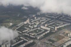 Fastighet från en fågelperspektiv Privat stugautveckling av mång--våning byggnader, Kiev, Ukraina, 09 08 2017 Royaltyfri Foto