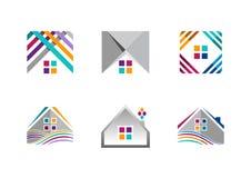 Fastighet huslogo, byggande lägenhetsymboler, samling av den hem- designen för konstruktionssymbolvektor Arkivfoton