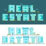 Fastighet - ordillustrationen Alfabetbokstav-byggnader Royaltyfria Bilder