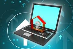 Fastighetaffär med frågefläcken i bärbar dator Arkivbild