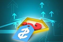 Fastighetaffär med tecknet för frågefläck och dollar Arkivbild