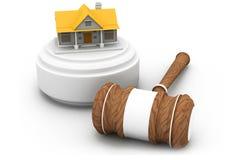 Fastighetauktion, hus och auktionsklubba Arkivbilder