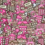 Fastighetbegrepp i för klotterbakgrund för tecknad film 3d design Royaltyfri Fotografi