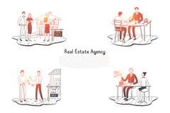 Fastighetbyrå - folk som väljer lägenheter i byrå och får tangent från ny uppsättning för egenskapsvektorbegrepp royaltyfri illustrationer