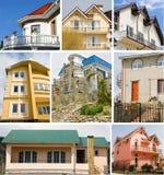 Fastighetcollage av åtta stugor Arkivbild