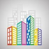 Fastighetdesign, byggnad och stadsbegrepp, redigerbar vektor Arkivbilder
