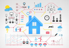 Fastighethus med blåa röda infographic symboler och grafer omkring Arkivfoto
