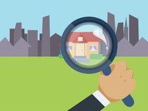 Fastighetsmäklare som finner ditt dröm- hem royaltyfri illustrationer