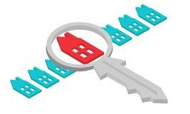 Fastighetsmäklare som finner ditt hem med förstoringsglaset Inom arkiv kan du finna mappar i sådana format: eps ai, cdr, jpg Arkivbild