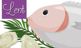Fasting Bread, Fish and Palm Leaves for Lent Season, Vector Illustration. Banner with fish, fasting bread and palm leaves representing the Lent season royalty free illustration
