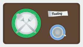 Fasting. Editable empty plate and cup, can be used for fasting theme vector illustration