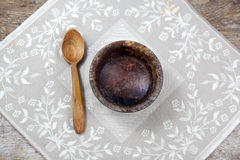 Fasting. Lent. Empty cup with spoon. Cross and prayer-book Royalty Free Stock Photo