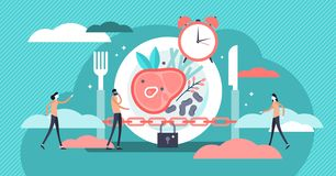 Fasting vector illustration. Flat tiny metabolism diet time person concept. Modern and healthy method for weight loss and positive effect. Daily meal schedule vector illustration