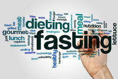 Fasting word cloud. Concept on grey background royalty free stock photography