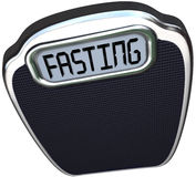 Fasting Word 5-2 Diet Fad Scale Overweight. The word Fasting on a digital display of a scale to represent the new 5:2 diet fad or craze in which you reduce Vector Illustration