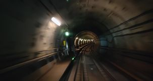 Fastmotion video, Metro in Copenhagen driving underground without driver
