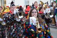 Парад оркестров на немецкой масленице Fastnacht стоковое фото rf