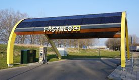 Fastned charging station for electric cars. A Fastned charging station for electric cars. Fastned has charging stations near Dutch highways Stock Images