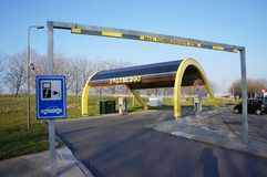 Fastned charging station for electric cars. A Fastned charging station for electric cars. Fastned has charging stations near Dutch highways Stock Photo