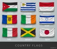 Fastnitat landets rynkade flagga med skuggor och skruven Royaltyfria Bilder