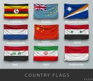 Fastnitat landets rynkade flagga med skuggor och skruven Royaltyfri Foto
