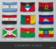 Fastnitat landets rynkade flagga med skuggor och skruven Arkivfoton
