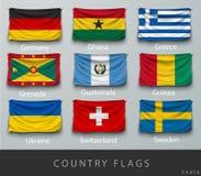 Fastnitat landets rynkade flagga med skuggor och skruven Arkivbild