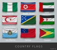 Fastnitat landets rynkade flagga med skuggor och skruven Fotografering för Bildbyråer