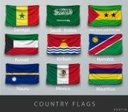 Fastnitat landets rynkade flagga med skuggor och skruven Royaltyfri Fotografi
